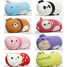 OEM Kids and children birthday gift bed sleep printing and embroidery throw pillow neck message spandex animal beads stuffed toy
