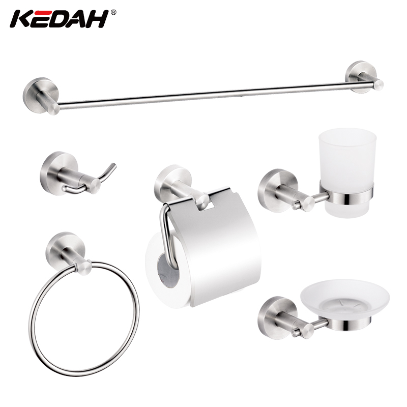 Hot Sale KD-751 Series 6 PCS Stainless Steel Brushed Sanitary Bathroom Hardware