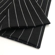 55 Linen 45 Cotton, Dye Yarn Fabric for Shirts Skirts, Black and White Dyed Yarn Stripe Fabric, XZ-3210