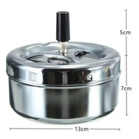 filter push down lid cover automatic floating cleaning metal spinning rotation stainless steel odorless cigarette ashtray