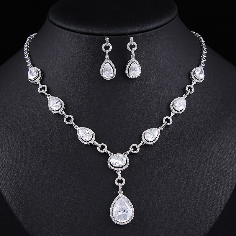 Luxurious Jewelry Sets Rhodium Plated Zircon Set Wedding Accessories MOQ 1 set