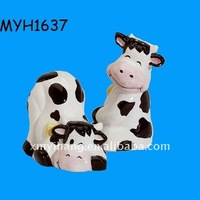 2011 new fashion ceramic cow salt and pepper shaker