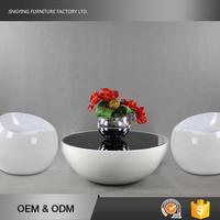 Aluminium Sheet Cover Modern Design Fiberglass Round Coffee Table
