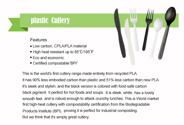 Eco friendly biodegradable PLA plastic cutlery