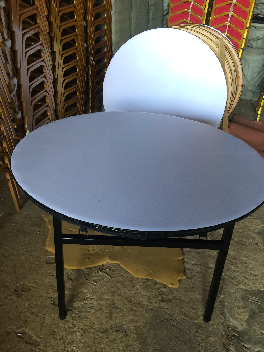 ZT-1267T steel frame round pvc folding hotel table