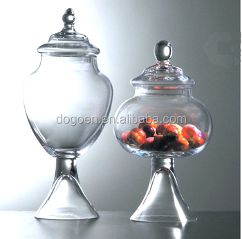pedestal glass christmas candy jar for candy
