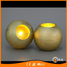 factory 2017 gold sliver copper metallic round ball led flameless candles