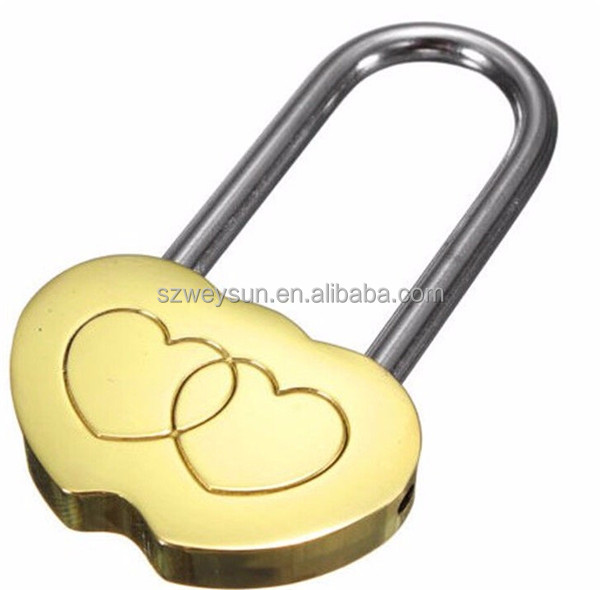 Padlock Love Lock Engraved Double Heart Valentines Anniversary Day Gifts (Can't Open)