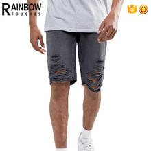 Acid wash wholesale distressed raw edges men denim shorts