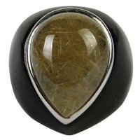 Gemstones Rings Jewellery 10# Black Obsidian with Cameo Teardrop