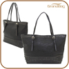 High quality real leather ladies handbag supplier ladies shoulder bag factory women tote bag with rivet
