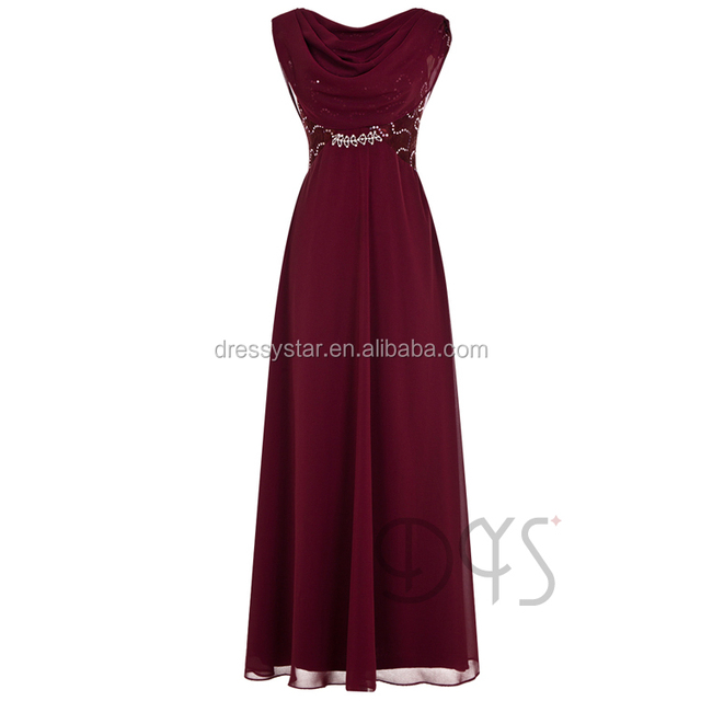 2017 long chiffon bridesmaid dress burgundy for wedding