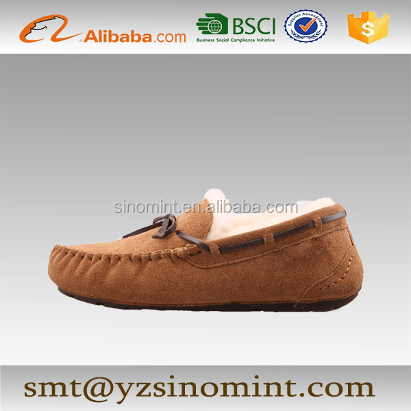 fashionable colored artifical moccasin lady shoes