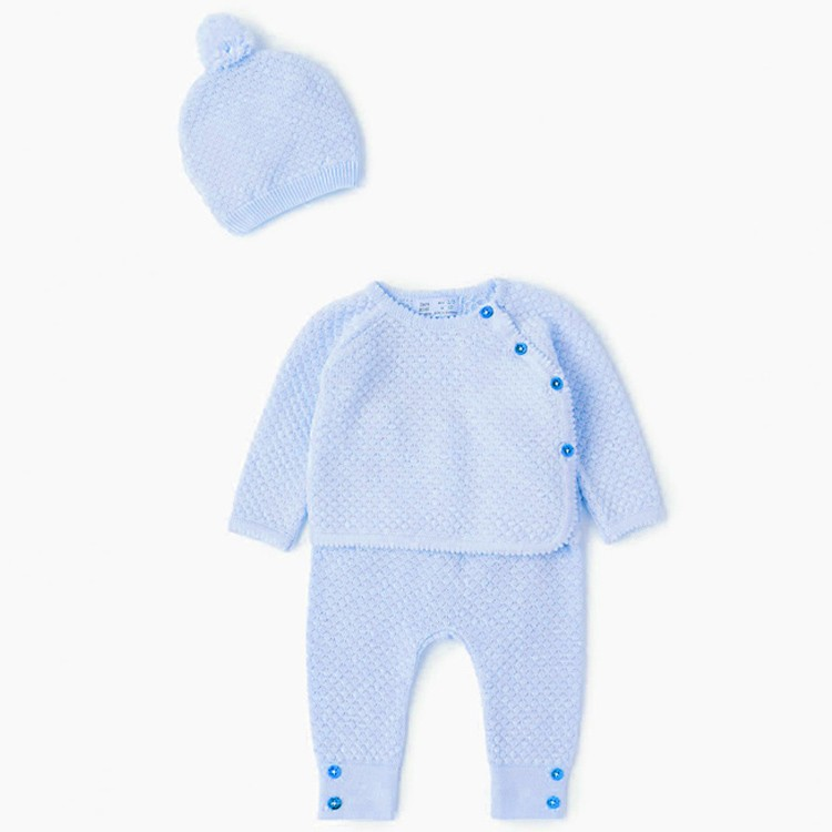 Wholesale knitted 100% cotton infant baby clothing sets wholesale china