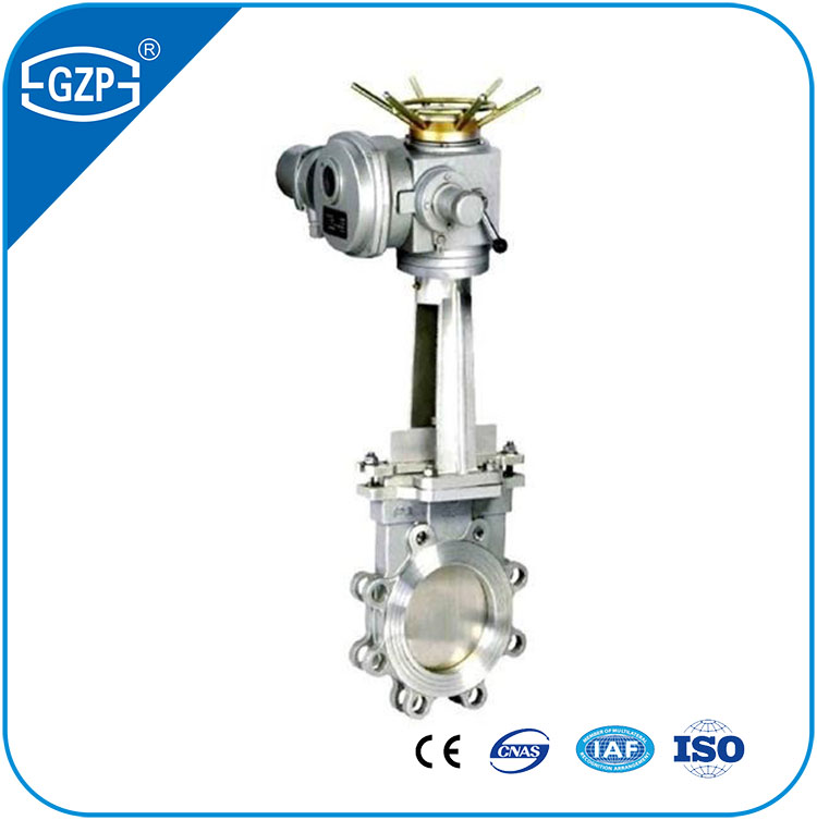 Class 150Lb PN10 PN16 Pressure Metalic Seal Flange Double Clip Type Electric Operated Knife Gate Valve