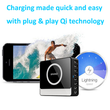 Powerful Wireless Charger Galaxy S4 Mini, 8 Port 60Watt QI Wireless Charger Receiver for Lenovo for HTC One For Other Smartphone