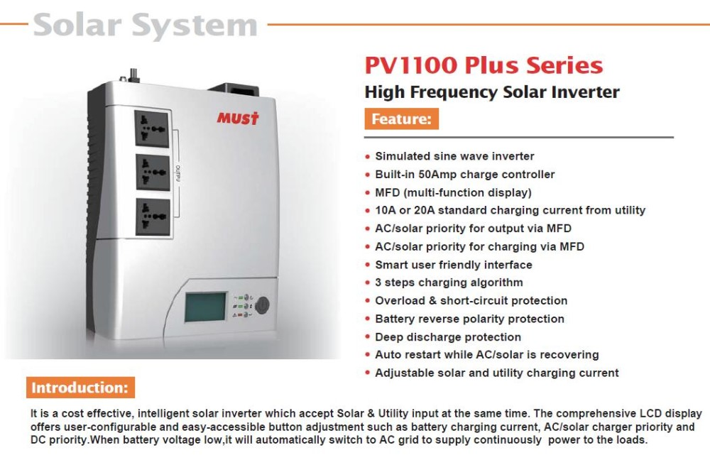 MUST Inverter Cold Start Function Solar Energy frequency inverter
