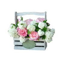 White painted wooden flower basket for wedding