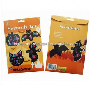 Halloween scratching art for kids,scratch art,Paper craft