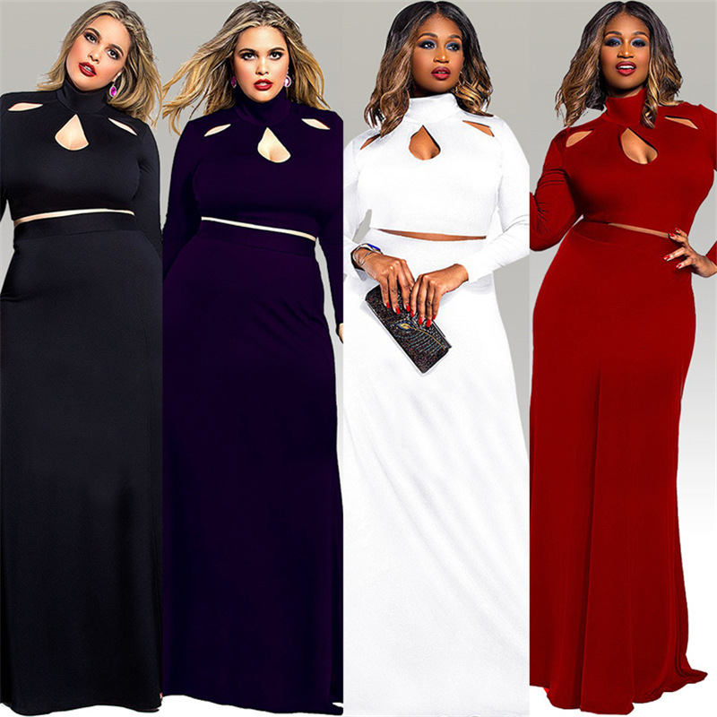 F20097A New fashion plus size maxi dresses evening dress for fat women sexy two pieces suit
