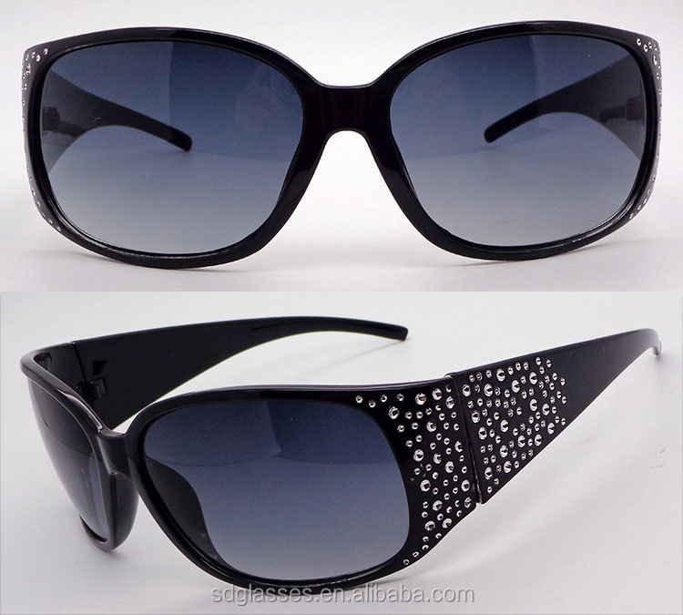 China eyewear supplier 12 years experience big frame diamond set women fashion sunglasses