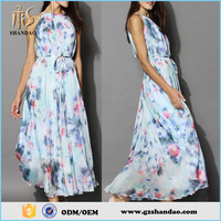 2015 Latest Designs Round Neck Sleeveless Floral Printed Long Umbrella Maxi Dress For Women