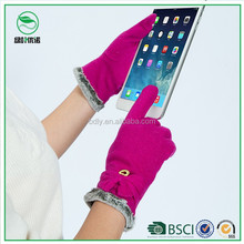 Ladies touch smartphone woolen gloves with thick warm lining