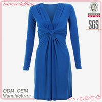 Woman/lady sexy evening wear long sleeve bodycon blue color latest dress patterns ladies with tie