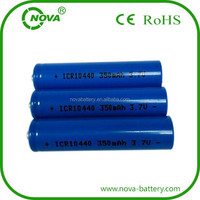 AAA Size 10440 lithium battery icr10440 3.7v 350mah li-ion battery