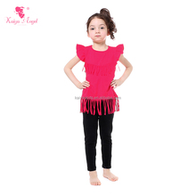 hot pink sleeveless t-shirts black smocked pant summer baby clothes set with tassel