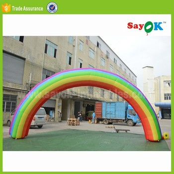 cheap outdoor PVC inflatable rainbow arch commercial event for sale