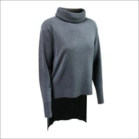 Gray colour long sleeve turtleneck 100% angora sweater DMJ-SW086