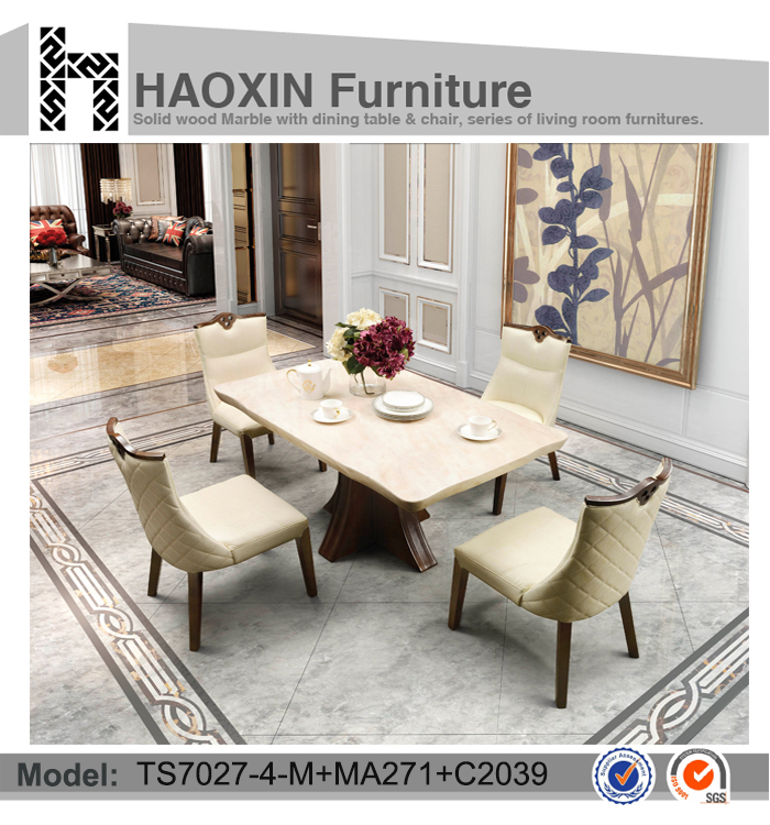 Living Room Furniture Marble Top Dining Table And Wooden Chair Leather Chair