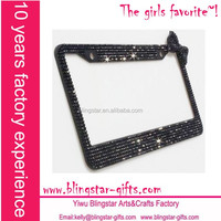 rhinestone black license plate frame with right corner bow
