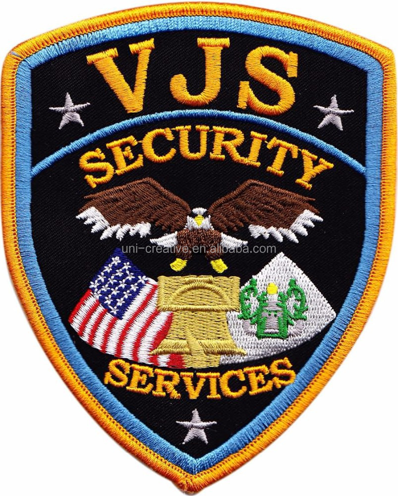 Custom security embroidered patches guards