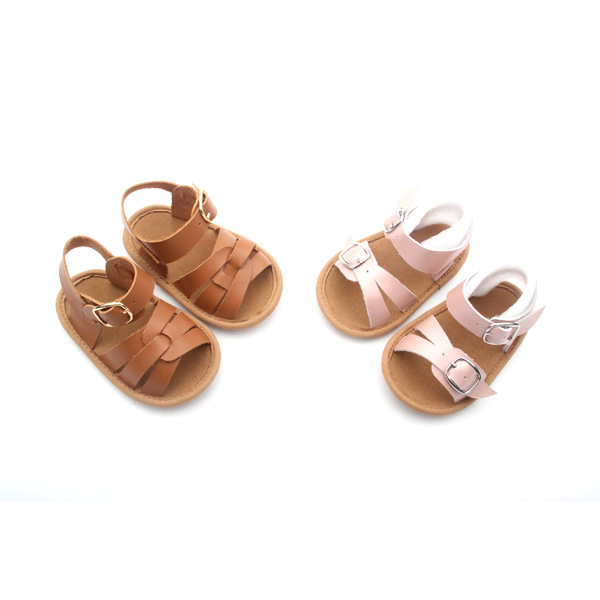 Newborn fashion baby leather slide sandals italian baby shoes 2017
