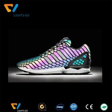 wholesale flashy sewing reflective rainbow colored shoes material