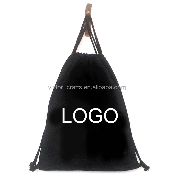 Custom logo print for canvas promotional black cotton drawstring bag