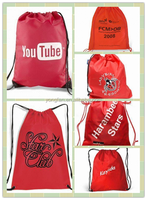China supplier high quality red nylon polyester drawstring bag with cheap price