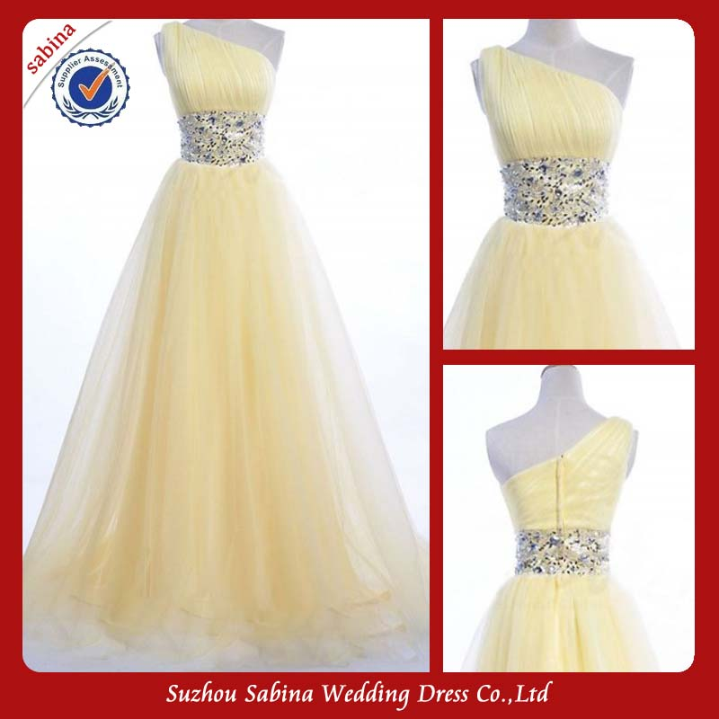 Sp159 Tulle Yellow Ball Gown Beaded Sequin Prom Dress