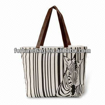 Zebra printed canvas tote bags wholesale