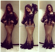 Saudi Arabia Style Party Dress Appliques Black Full Long Sleeve Prom Dress Mermaid Evening Dresses 2018