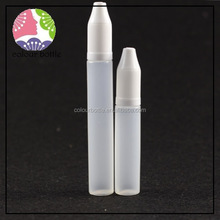 trade assurance 10ml 15ml 30ml pen shape pe plastic unicorn bottle with child lock cap for smoke oil,nicotine oil use