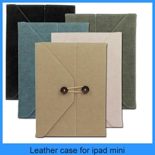 High quality briefstyle style W/ fastener file cover portfolio leather case for ipad mini/4/3/2 (PT-IPM207)