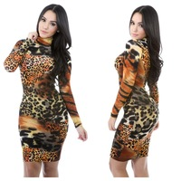 Adult Long Sleeves High Neck Laides Clothes Design Tight Body Cheap Casual Women's Dresses One Piece XY1514 leopard dress
