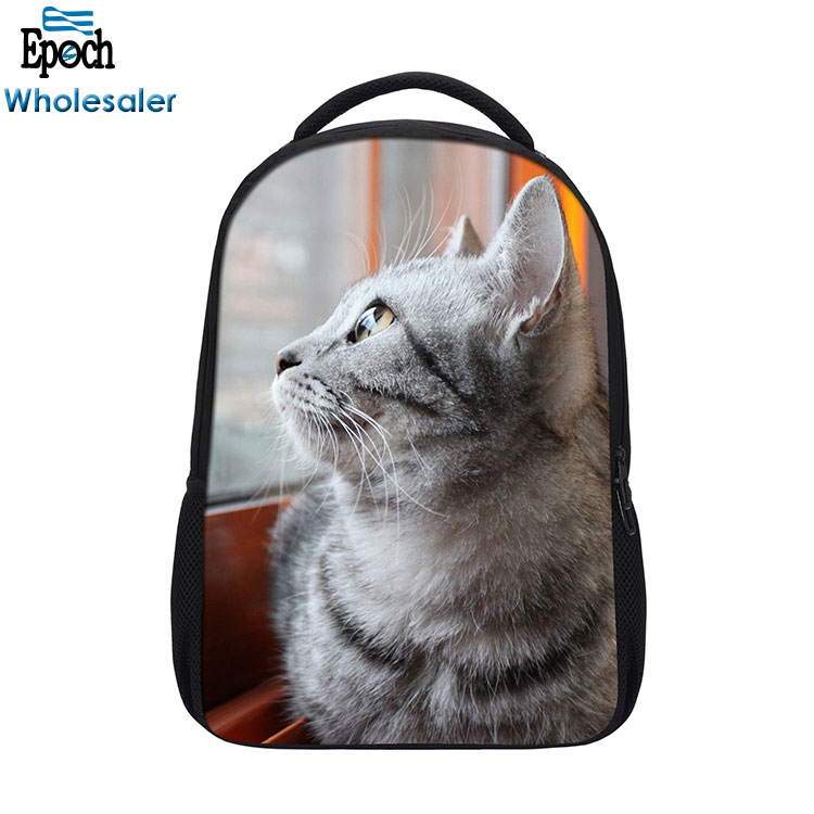 Wholesale simple style lightweight cute cat animal bagpack school,design you own backpack