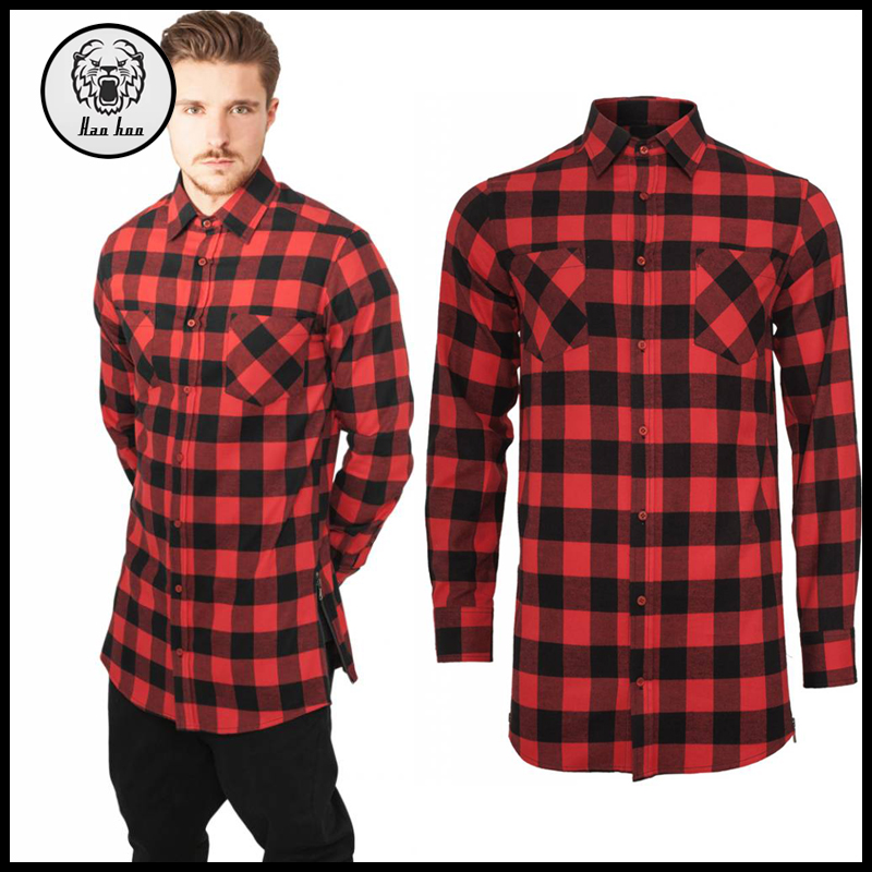 2016 Winter Latest Wholesale Side Zip Long Sleeve 100% Cotton Red and Black Elongated Longline Plaid Flannel Men T Shirt
