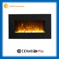 "36"" linear black wall hung electric fireplace heater"