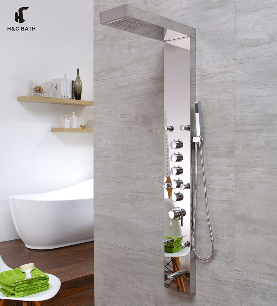 Rain Massage System Faucet SS Rainfall Shower Panel
