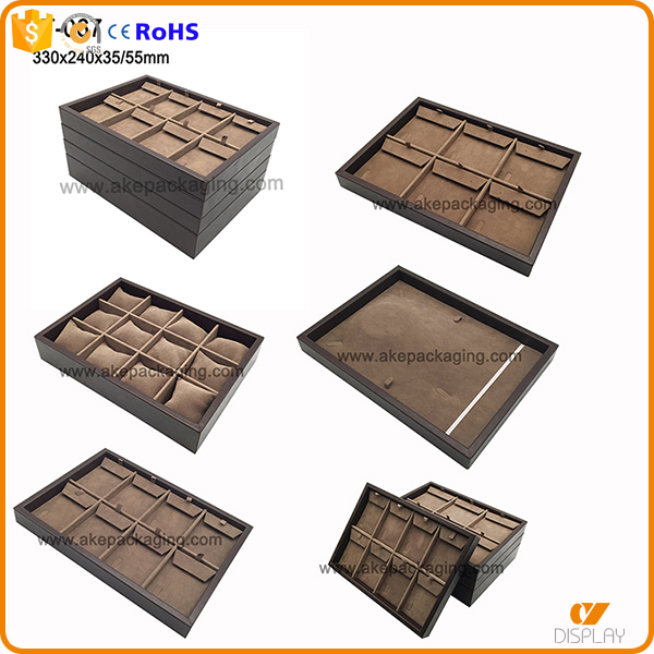 customized wooden leather finished logo print jewelry display ring tray
